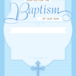 Dotted Blue - Free Printable Baptism & Christening within Blank Christening Invitation Templates