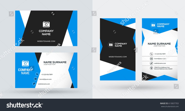 Doublesided Creative Business Card Template Portrait Stock Regarding Portrait Id Card Template