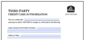 Download Best Western Credit Card Authorization Form pertaining to Hotel Credit Card Authorization Form Template