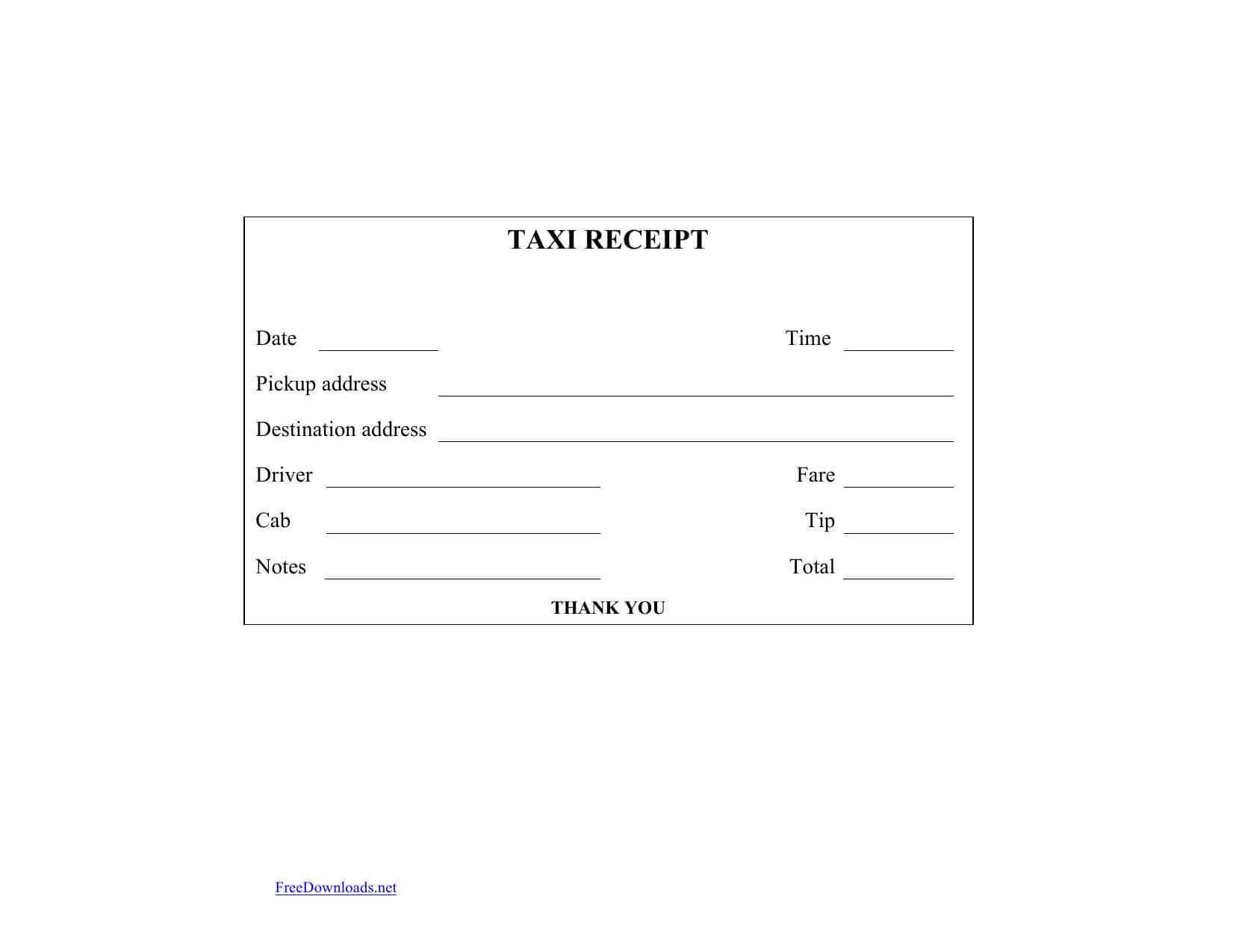 Download Blank Printable Taxi/cab Receipt Template | Excel With Regard To Blank Taxi Receipt Template
