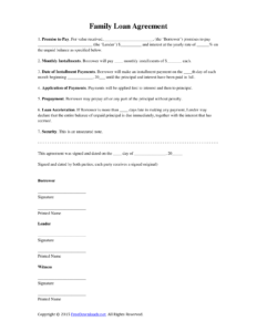 Download Family Loan Agreement Template | Pdf | Rtf | Word with regard to Blank Loan Agreement Template