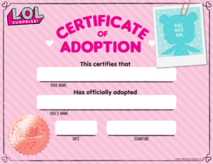 Download Fun Activities And Color-Ins To Print Out And Play with Toy Adoption Certificate Template