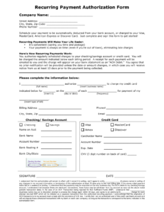 Download Recurring Payment Authorization Form Template in Credit Card Authorization Form Template Word