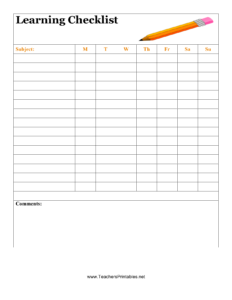 Download Student Checklist Template | Excel | Pdf | Rtf regarding Blank Checklist Template Pdf