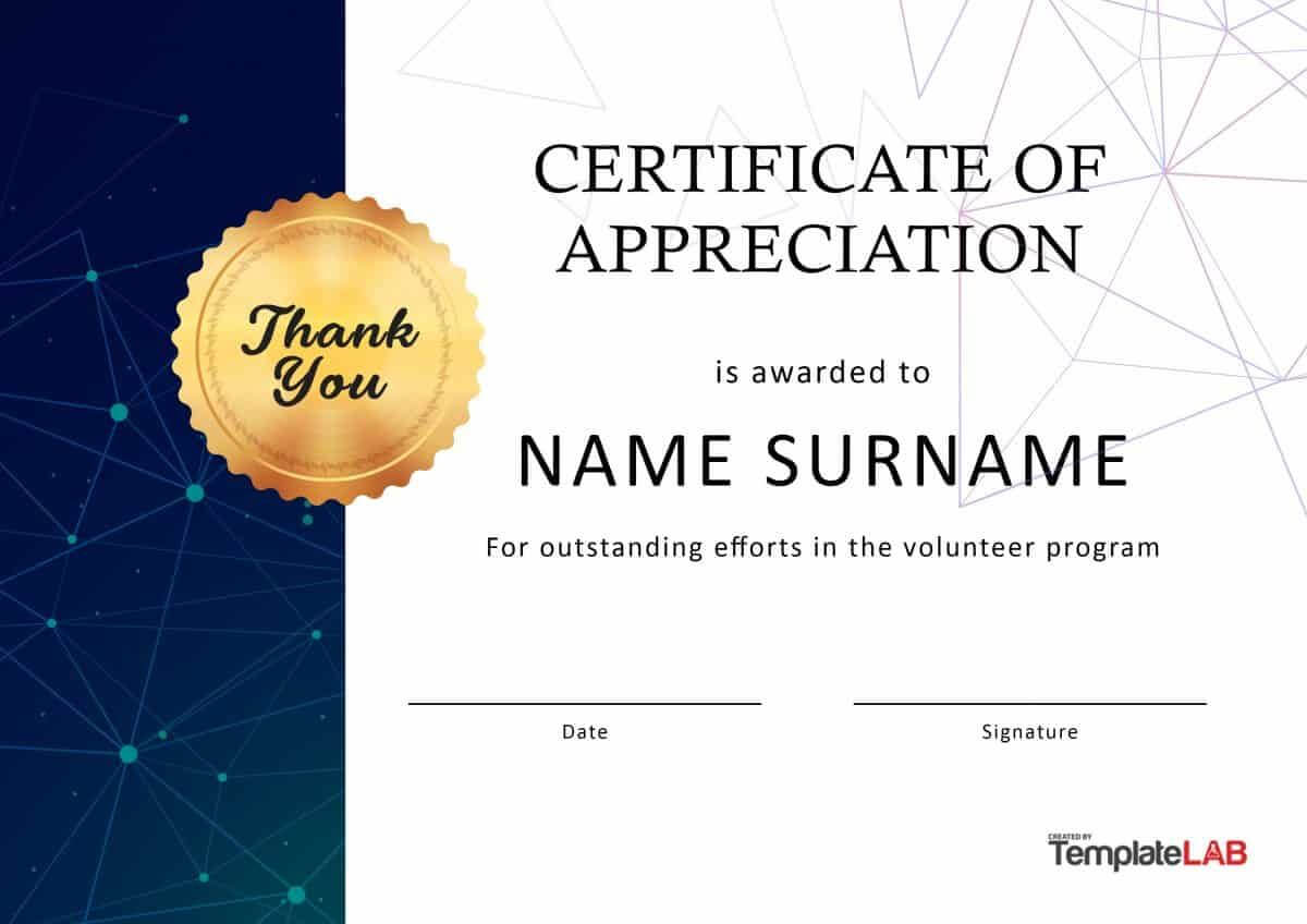 Download Volunteer Certificate Of Appreciation 03 | Misical For Free Certificate Of Appreciation Template Downloads