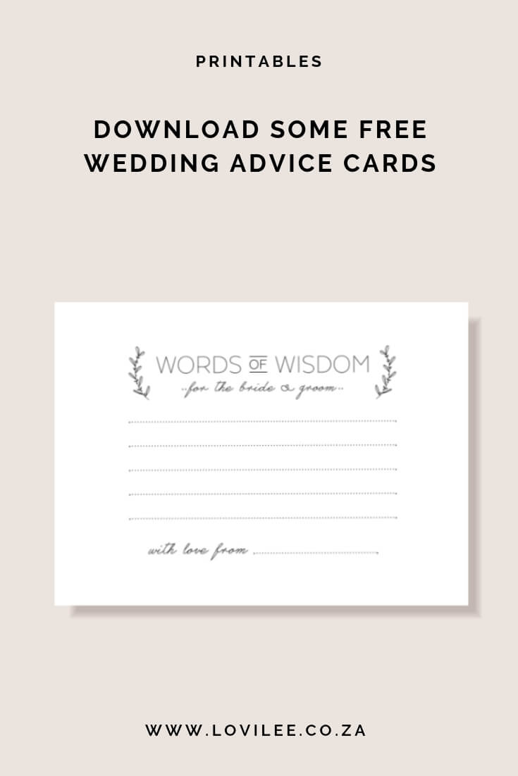 Download Your Free Wedding Advice Cards Printable | Lovilee Blog Pertaining To Marriage Advice Cards Templates