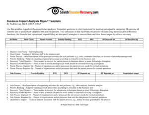 Downloadable Business Impact Analysis Template for Business Analyst Report Template