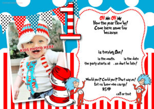 Dr.seuss 1St Birthday Invitation Template  | Party Ideas For Dr Seuss Birthday Card Template