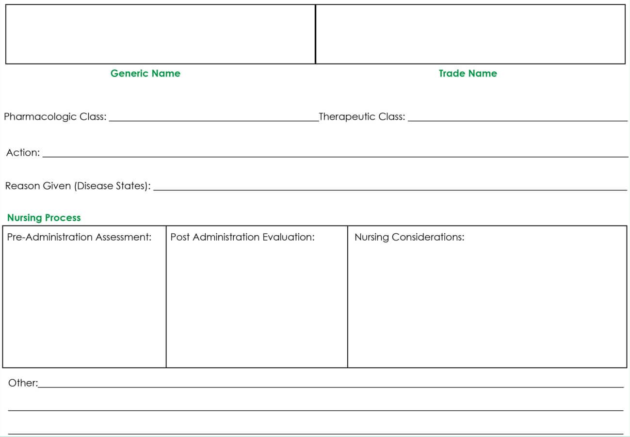 Drug Card Template | Nursing | Pharmacology Nursing, Nursing With Med Cards Template