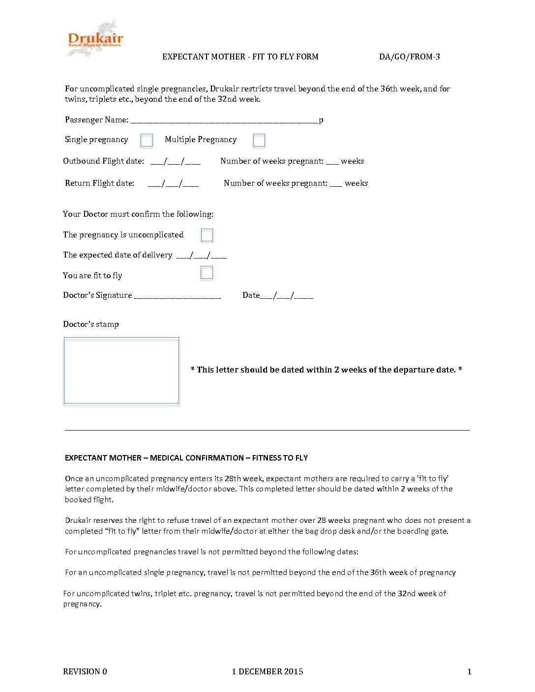 Drukair Fit To Fly Certificate For Pregnant (Expactant)  With Fit To Fly Certificate Template
