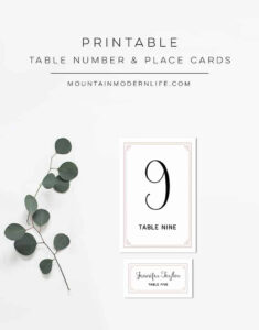 Dusty Rose Diy Table Numbers And Place Cards regarding Table Number Cards Template