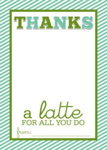"Easy Teacher Gift Craft ""Thanks A Latte"" Starbucks Gift Card regarding Thanks A Latte Card Template"