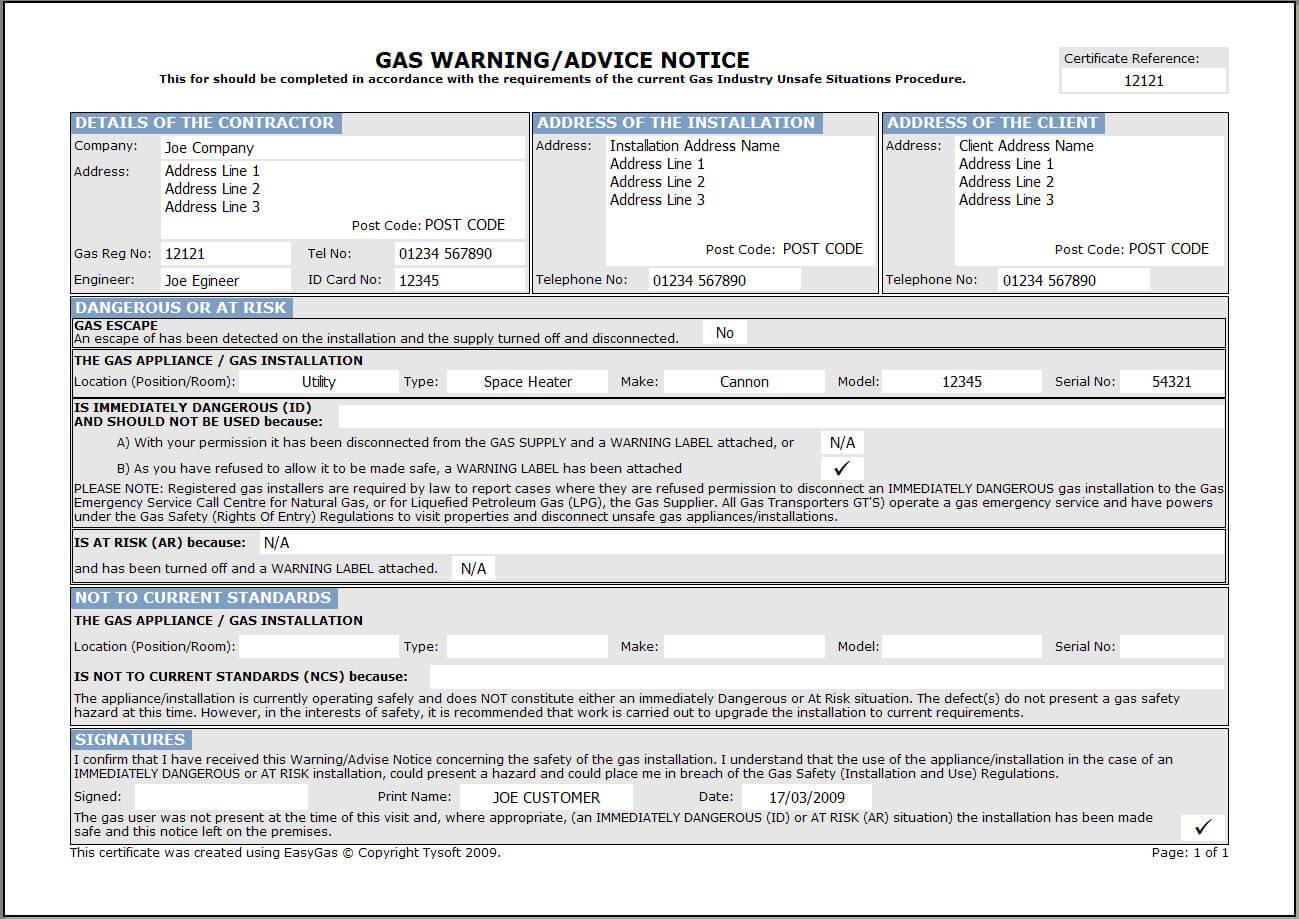 Easygas Certification Software Regarding Electrical Installation Test Certificate Template