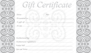 Editable And Printable Silver Swirls Gift Certificate Template In Graduation Gift Certificate Template Free