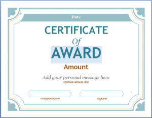 Editable Award Certificate Template In Word #1476 throughout Blank Certificate Of Achievement Template