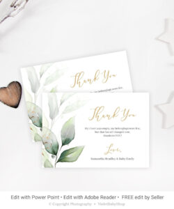 Editable Baby Shower Thank You Card, Printable Greenery pertaining to Powerpoint Thank You Card Template