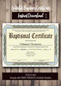 Editable Baptism Certificate Template – Pdf Adobe Reader Editable File –  Printable Certificate Template – Instant Download with Baptism Certificate Template Download