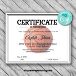 Editable Basketball Certificate Template – Printable Certificate Template –  Basketball Certificate Template Personalized Diploma Certificate Pertaining To Basketball Camp Certificate Template