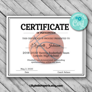 Editable Basketball Certificate Template – Printable Certificate Template –  Basketball Certificate Template Personalized Diploma Certificate pertaining to Basketball Camp Certificate Template