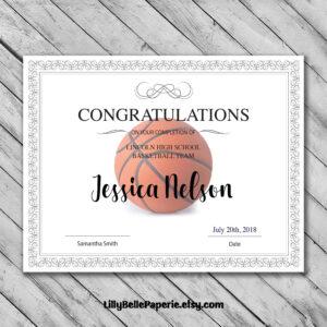 Editable Basketball Certificate Template – Printable pertaining to Tennis Certificate Template Free