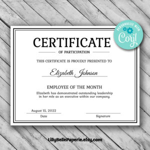 Editable Certificate Template – Employee Of The Month Certificate Template  – Template – Boss Manager Office Worker Employer Instant Download within Manager Of The Month Certificate Template