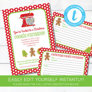 Editable Cookie Exchange Christmas Party Invitation And Recipe Cards,  Instant Download, Holiday Cookie Party Invitation, Edit With Templett in Cookie Exchange Recipe Card Template