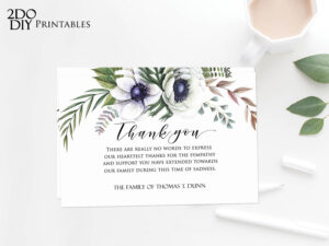Editable Funeral Thank You Card | Memorial Editable Template throughout Sympathy Thank You Card Template