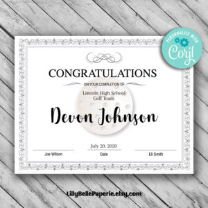 Editable Golf Certificate Template – Printable Certificate Template – Pro  Golf Certificate Template Personalized Diploma Certificate within Golf Certificate Template Free
