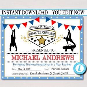 Editable Gymnastics Certificates, Instant Download Gymnastics Team Awards,  Gymnastics Party Printable, Printable Gymnast Certificate Awards within Gymnastics Certificate Template