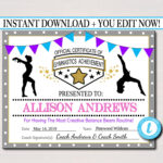 Editable Gymnastics Certificates, Instant Download throughout Gymnastics Certificate Template