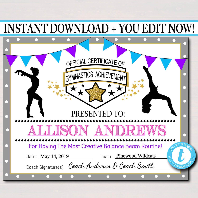 Editable Gymnastics Certificates, Instant Download Throughout Gymnastics Certificate Template
