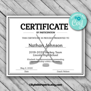 Editable Hockey Sports Team Certificate Template – Printable throughout Hockey Certificate Templates
