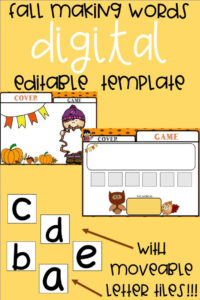 Editable Making Words Template | Fall Theme | K-3 Classroom with Making Words Template