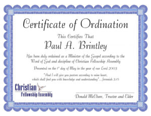 Editable Pastoral Ordination Certificatepatricia Clay Intended For Certificate Of Ordination Template
