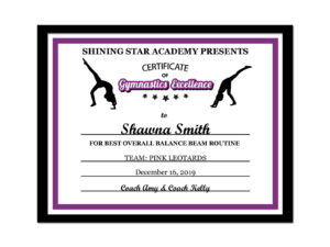 Editable Pdf Sports Team Gymnastics Certificate Award Template In 10 Colors  Letter Size Instant Download Pdf & Blank Jpg Sc-002-Gymnastics intended for Gymnastics Certificate Template