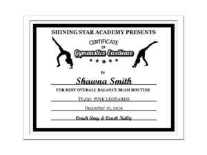 Editable Pdf Sports Team Gymnastics Certificate Award Template In Black  Letter Size Instant Download Pdf & Blank Jpg Sc-002-Gymnastics-Blk in Gymnastics Certificate Template
