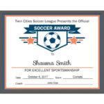 Editable Pdf Sports Team Soccer Certificate Award Template Intended For Soccer Certificate Template