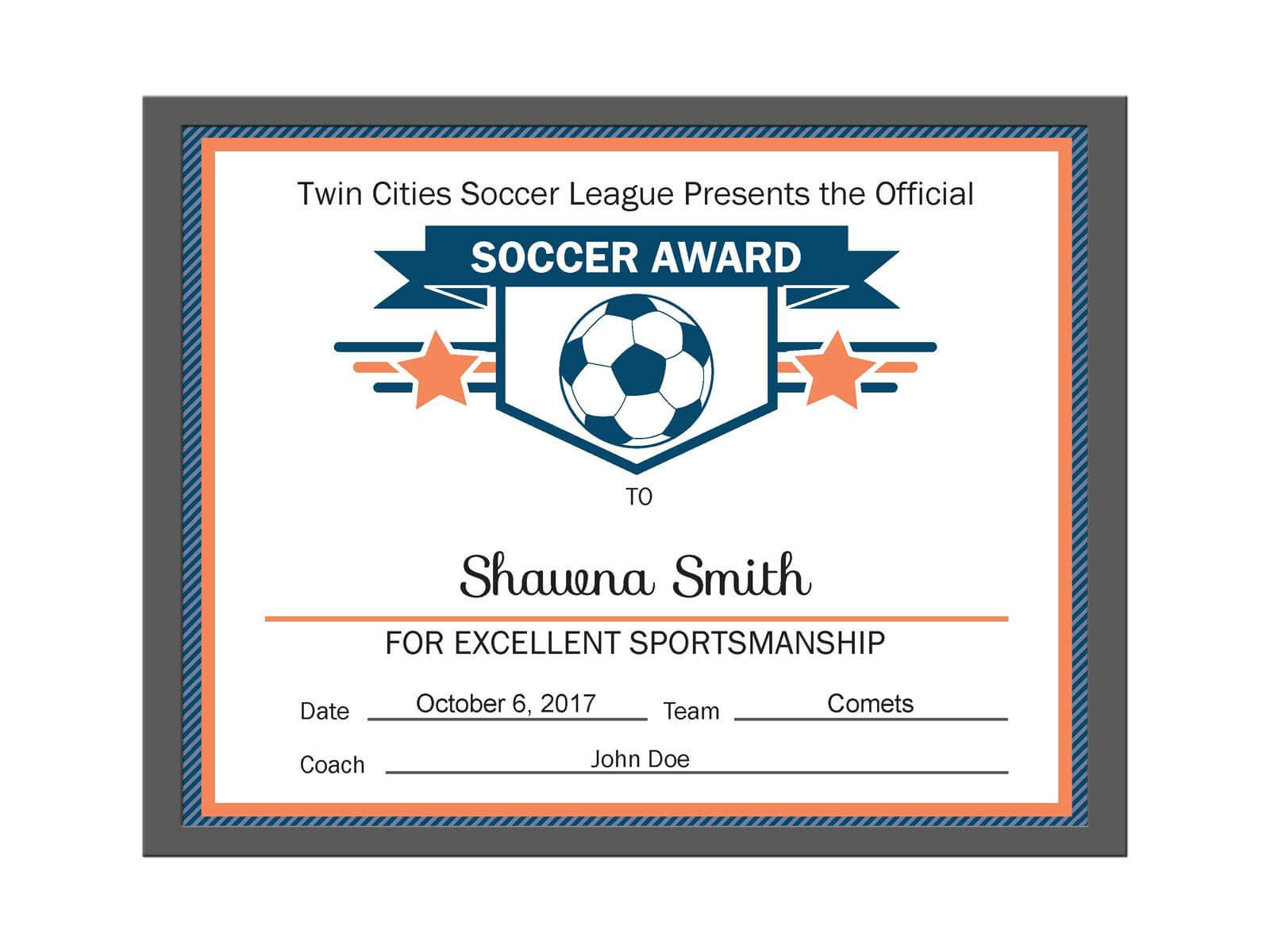 Editable Pdf Sports Team Soccer Certificate Award Template Intended For Soccer Certificate Template