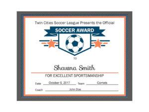 Editable Pdf Sports Team Soccer Certificate Award Template throughout Soccer Certificate Template Free