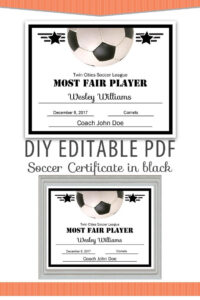 Editable Pdf Sports Team Soccer Certificate Diy Award within Soccer Certificate Template