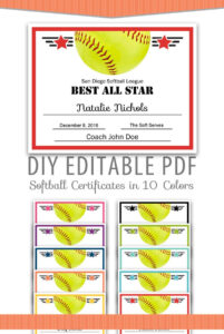 Editable Pdf Sports Team Softball Certificate Award Template In 10 Colors  Letter Size Instant Download In Free Softball Certificate Templates