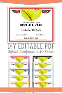 Editable Pdf Sports Team Softball Certificate Award Template intended for Softball Award Certificate Template