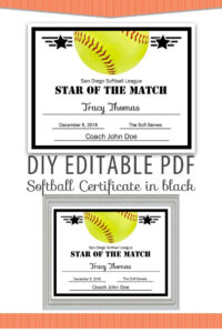 Editable Pdf Sports Team Softball Certificate Diy Award within Softball Award Certificate Template