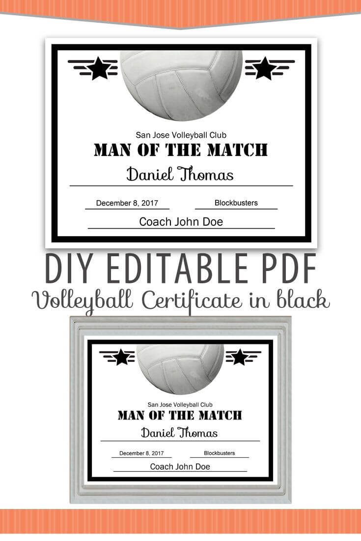 Editable Pdf Sports Team Volleyball Certificate Diy Award Inside Free Softball Certificate Templates