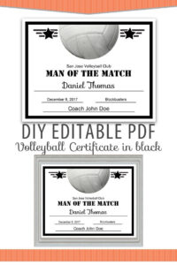 Editable Pdf Sports Team Volleyball Certificate Diy Award within Softball Award Certificate Template