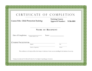 Editable Sample Certificate For Training Completion in Fall Protection Certification Template