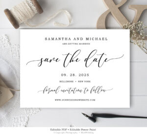 Editable Save The Date Card, Wedding Save The Date Template, Rustic Save  The Date Printable, Calligraphy Save The Date Instant Download Sd4 within Save The Date Powerpoint Template