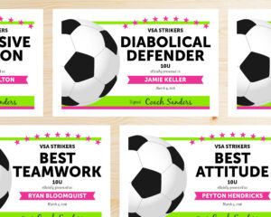 Editable Soccer Award Certificates – Instant Download Printable – Hot Pink  And Lime Neon Green with Soccer Award Certificate Template