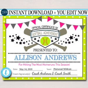 Editable Softball Certificates Instant Download Softball Award, Printable  Girls Softball Team Participation Awards, Sports Acheivement in Softball Certificate Templates