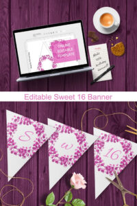 Editable Sweet 16 Banner Template For Pink Purple 16Th within Sweet 16 Banner Template